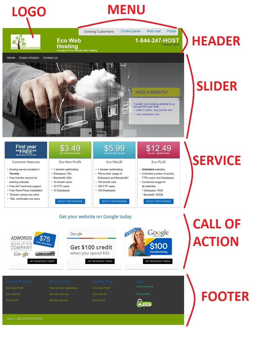home page layout - sample 1
